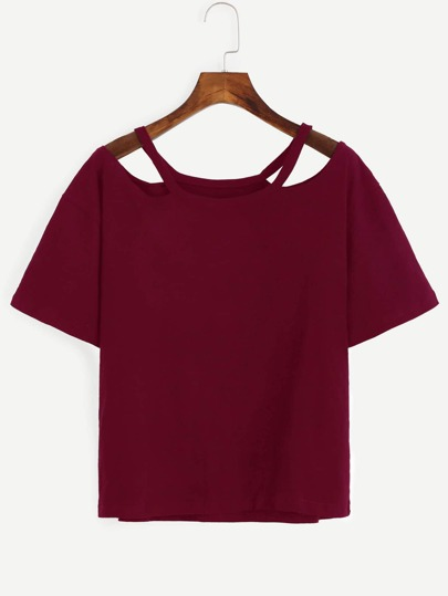 Cut-Outs T-shirt -burgund rot