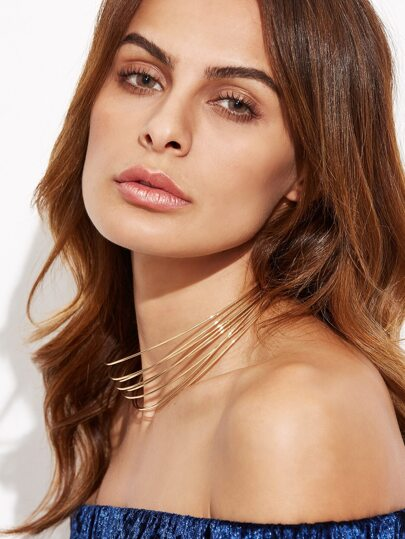Gold Plated Layered Choker Necklace