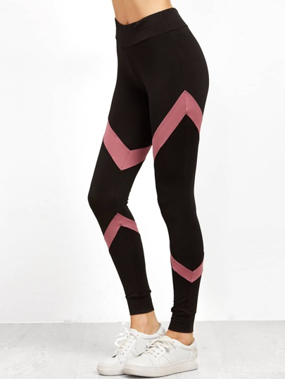 Leggings de color en contraste - negro