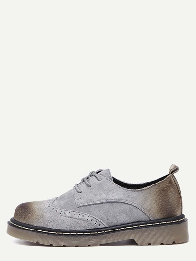 Grey Distressed Rubber Sole Oxford Shoes