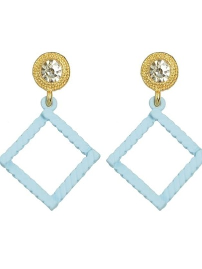 Blue Rhinestone Square Shape Drop Earrings
