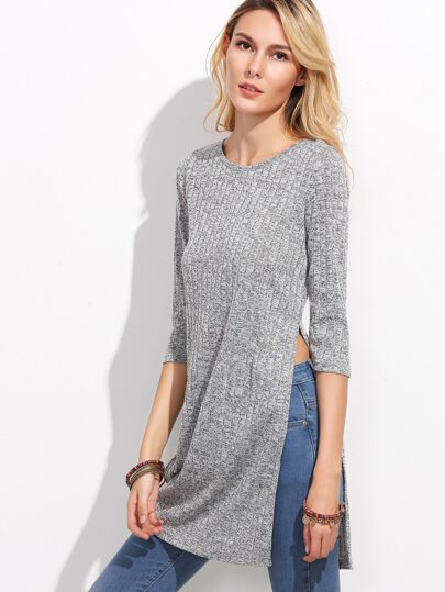 Grey Marled Knit Side Slit Longline Ribbed T-shirt