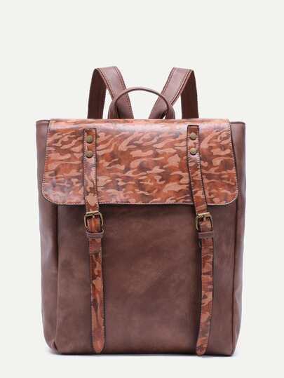 Khaki PU Double Buckled Strap Flap Backpack