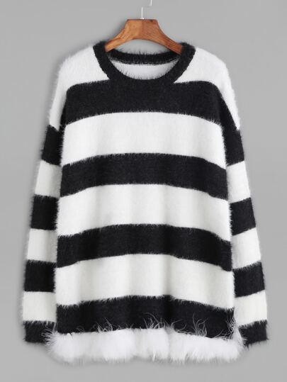 Black And White Striped Mohair Sweater