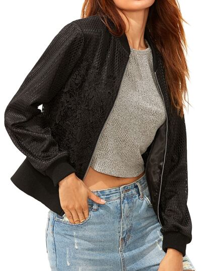 Black Embroidered Lace And Mesh Overlay Bomber Jacket
