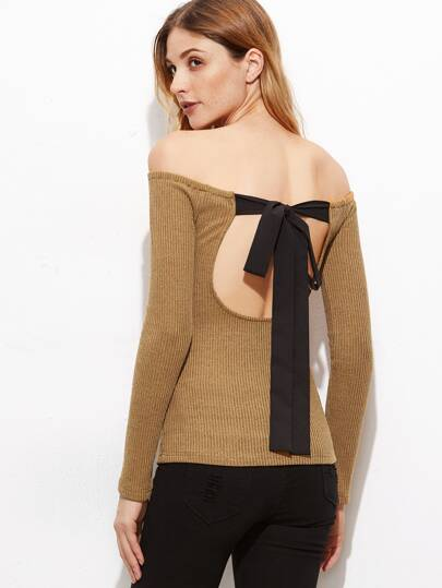 Khaki Off The Shoulder Cutout Tie Back T-Shirt