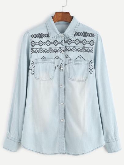 Light Blue Embroidery Pocket Denim Blouse