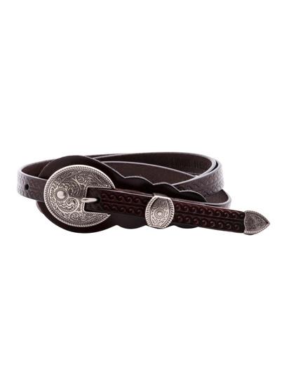 Cintura Stretta Con Fibbia Scolpita Vintage - Nero