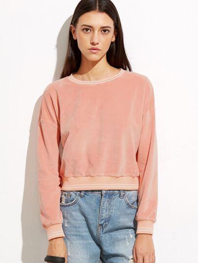 Pink Striped Trim Crop Velvet Sweatshirt