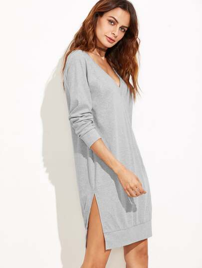 Heather Grey Double V Neck Slit Sweatshirt Dress