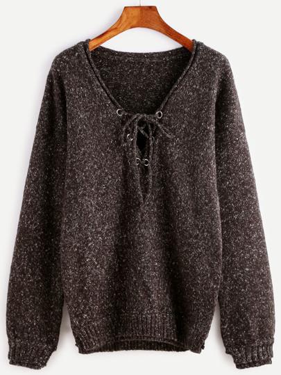 Olive Green Lace Up V Neck Drop Shoulder Sparkle Sweater