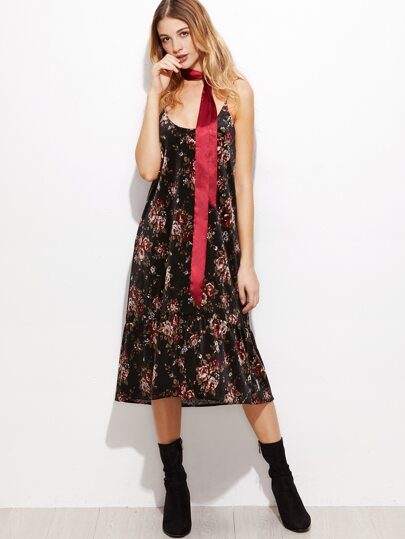 Black Rose Print Ruffle Hem Velvet Cami Dress