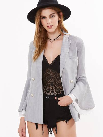Grey Pinstripe Layered Bell Sleeve Pearl Ball Button Blazer