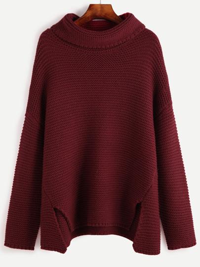 Pullover Drop Schulter Stehkragen-rot