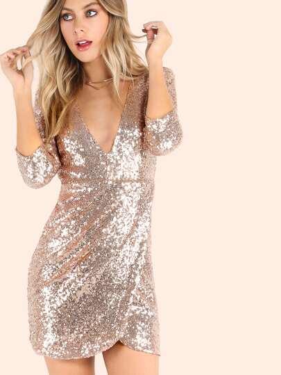 3/4 Sleeve Plunging V Wrap Sequin Dress ROSE GOLD