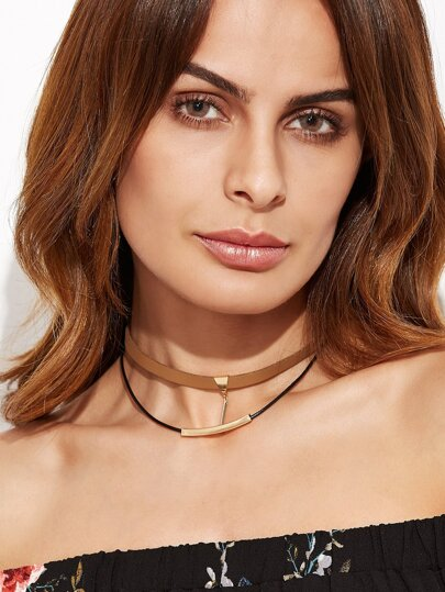 Brown Double Layer Metal Trim Choker Necklace