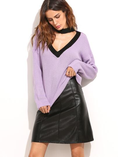 Purple Ribbed Knit Contrast Choker Neck Sweater