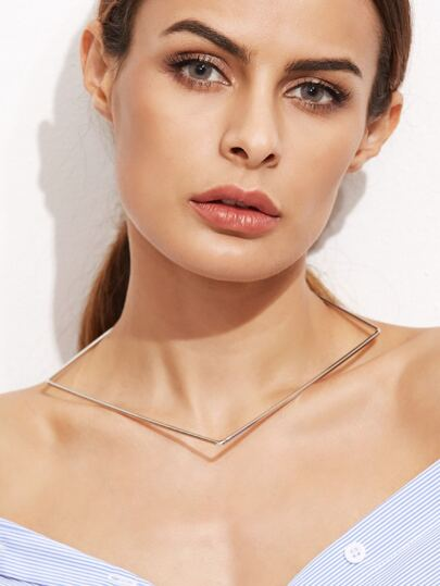 Silver Plated Geometric Metal Choker Necklace