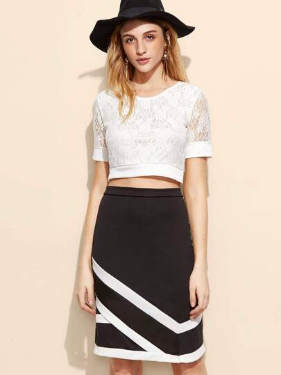 Crop Lace Top With Striped Trim Zipper Back Skirt