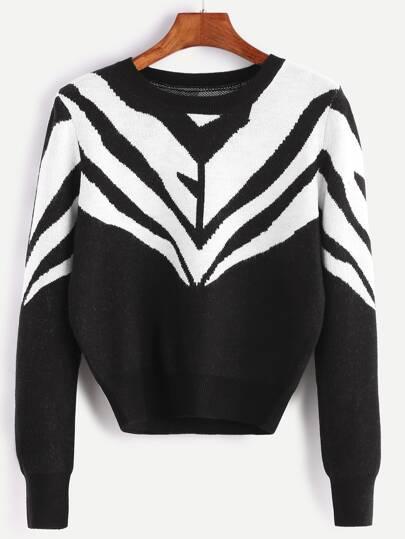 Pull motif géométrique - noir et blanc