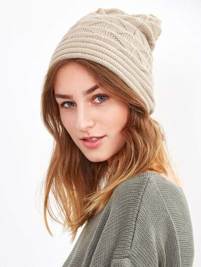 Beige Layered Knit Drape Hat