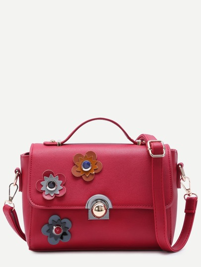 Floral Patch Red PU Crossbody Bag
