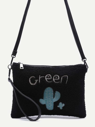 Cactu  Black Zip Closure Crossbody Bag