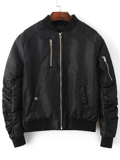 Black Zipper Up Quilted Flight Jacket