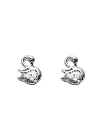 Silver Plated Swan Rhinestone Stud Earrings