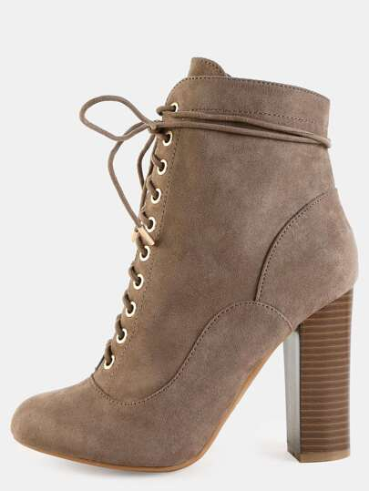 Almond Toe Suede Boots TAUPE