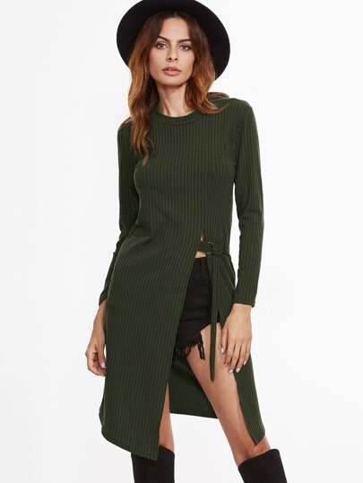 Army Green Buckle Detail Split Dress