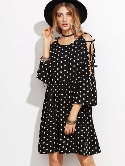 Black Polka Dot Print Tied Shoulder Dress