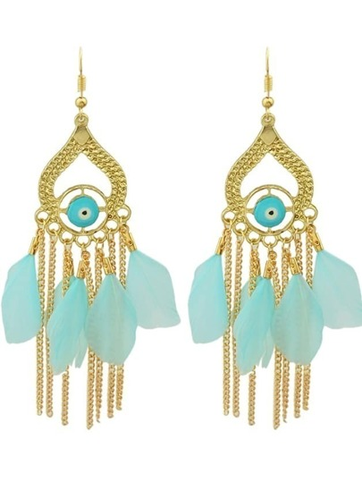 Blue Retro Style Colorful Feather Chandelier Earrings