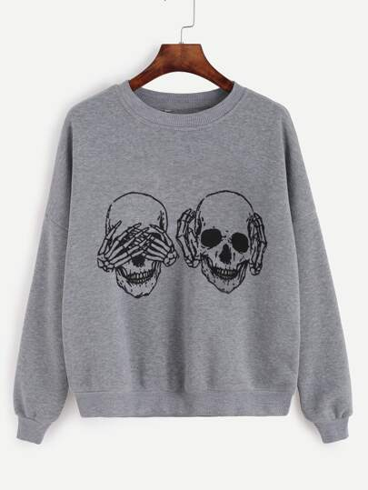 Grey Skull Print Drop Shoulder Sweatshirt