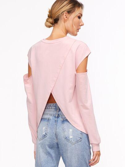 Pink Open Shoulder Split Back Sweatshirt