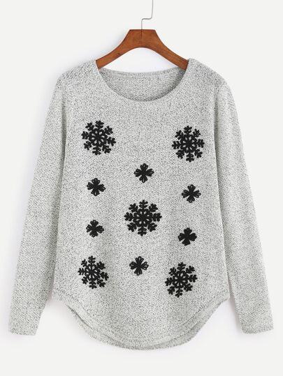 Jersey con bordado de copo de nieve y bajo redondeado - gris