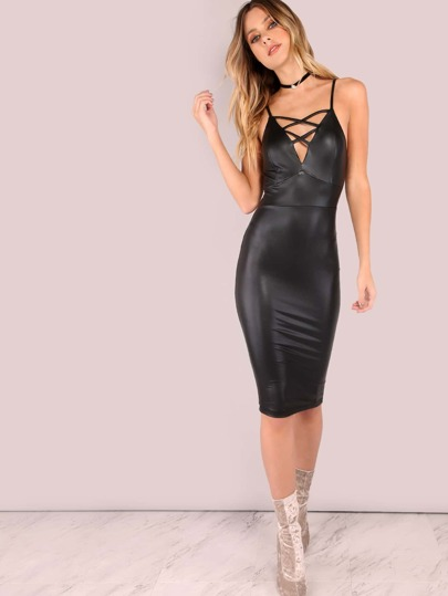 Cross Bust Coated Cami Dress BLACK