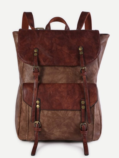 Coffee Faux Leather Buckle Strap Flap Pocket Backpack