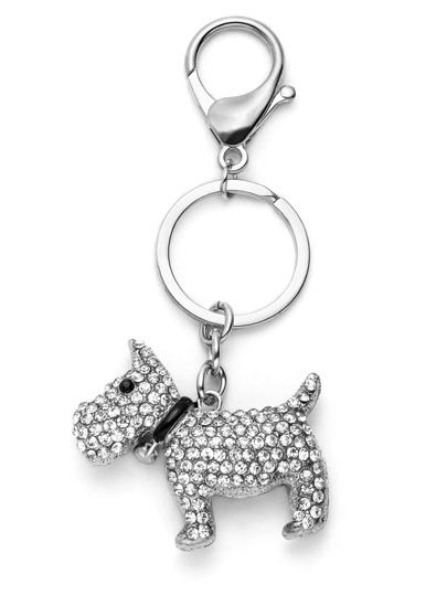 Silver Plated Rhinestone Lovely Dog Keychain