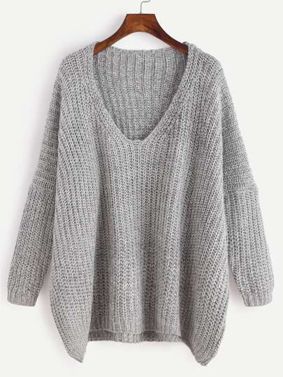 Grey Marled Knit Drop Shoulder Sweater