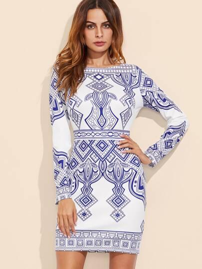 Blue And White Geo Print Bodycon Dress