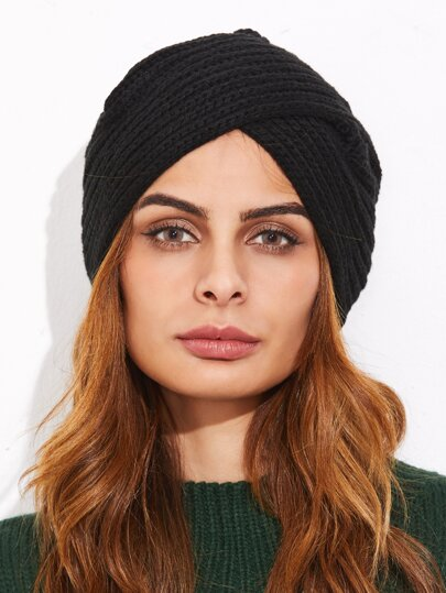 Black Ribbed Knit Turban Hat