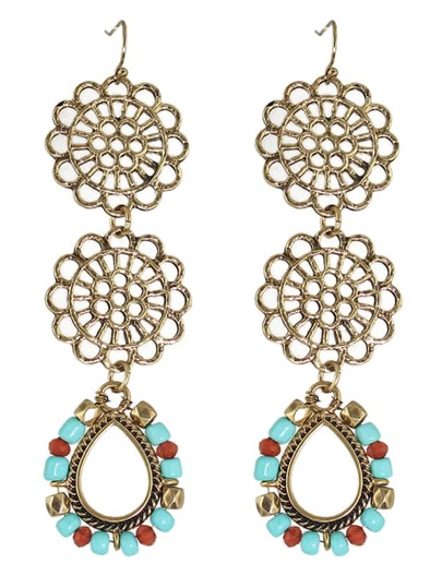Boucles d'oreille rétro longues en fleur et perle - coloré