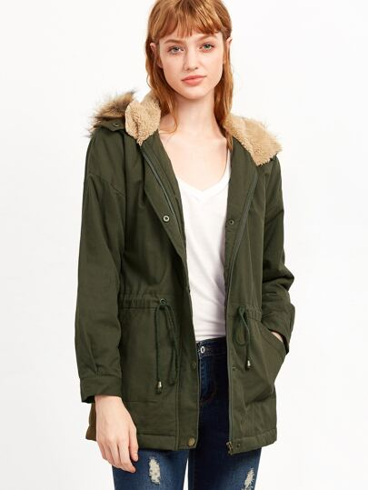Olive Green Faux Fur Trim Hooded Utility Coat