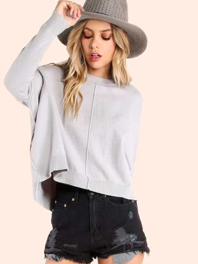 Boxy Crew Neck Pullover Sweater GREY