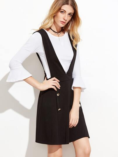 White Bell Sleeve Ribbed Top With Pinafore Dress