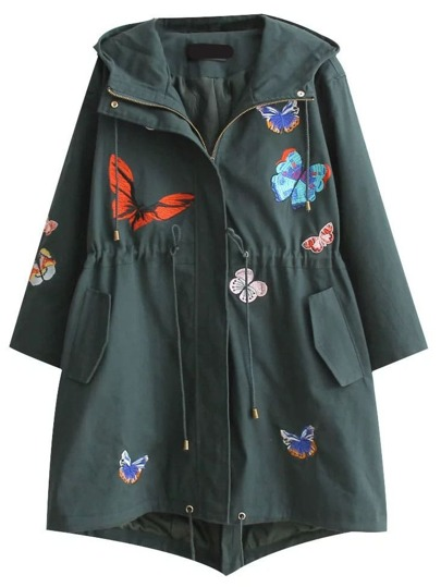 Dark Green Butterfly Embroidered Drawstring Waist Hooded Coat
