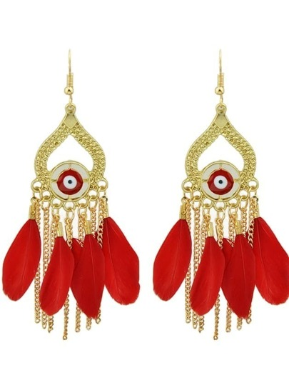Red Retro Style Colorful Feather Chandelier Earrings