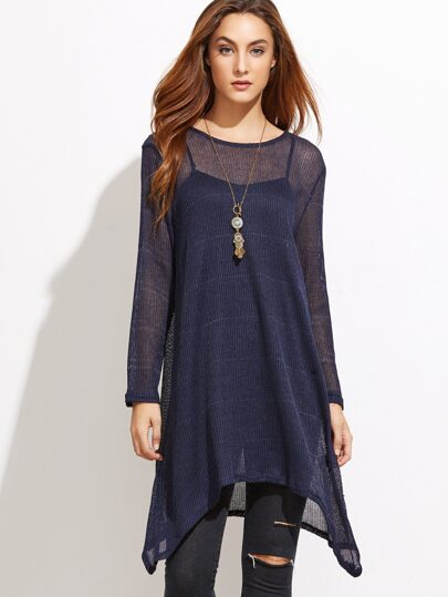 Dark Blue Asymmetric Hem Top