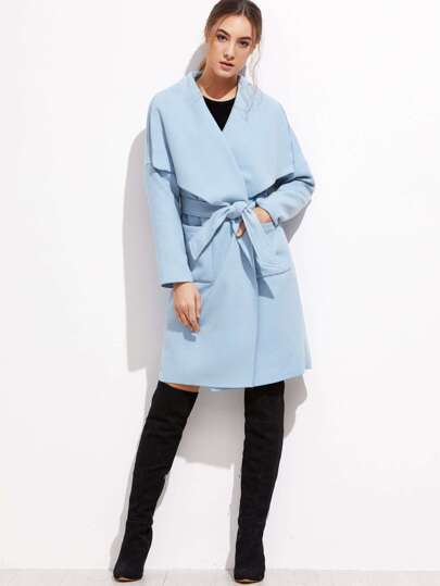 Blue Drop Shoulder Drape Collar Wrap Coat